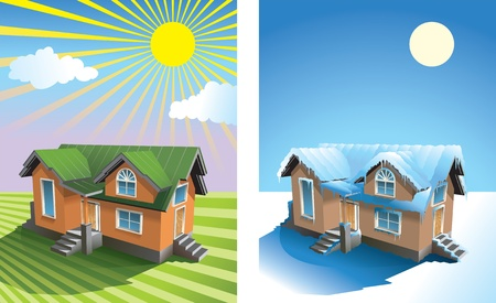rural houses: Two season: small house in summer under the sun on the grassy field, and in winter snow covered, vector illustration