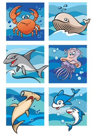 whale underwater: Marine life: dolphins, whale, sharks, crab and jellyfish against a backdrop of the sea waves, set of six cartoon pictures, vector illustration