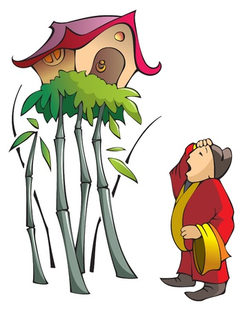 bemused: House on bamboo tree: illustration for Chinese old tale, a man built house on bamboo sprout Illustration