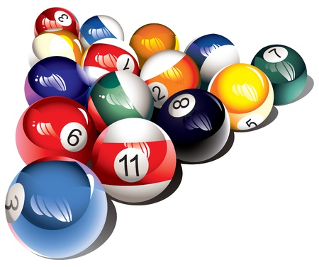 table surface: Glossy billiard balls set