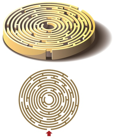 Round labyrinth, maze, isolated flat and three dimensional