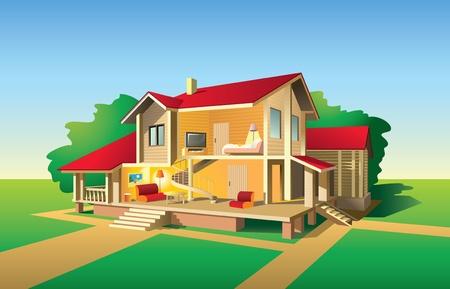 Casa de campo sin pared delantera, vistas al interior y exterior en día soleado, ilustración Ilustración de vector