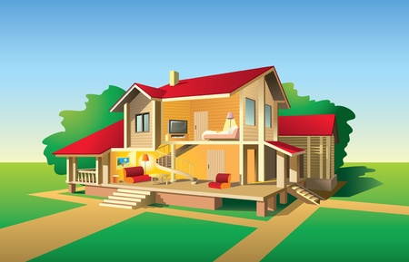 Country house without front wall, interior and exterior view in sunny day, illustration Stock Vector - 8597883