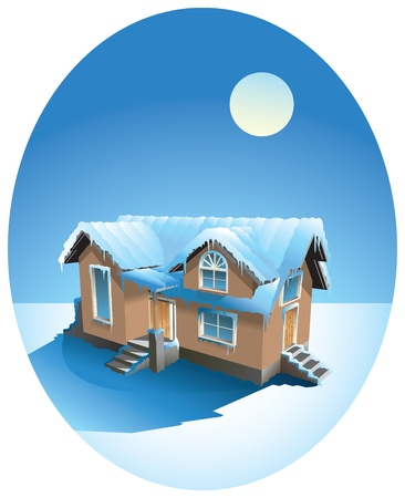 Small house in winter snow covered, illustration Stock Vector - 8597885