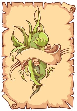 Twisted lint met bladeren, op schuif achtergrond, Vector illustratie