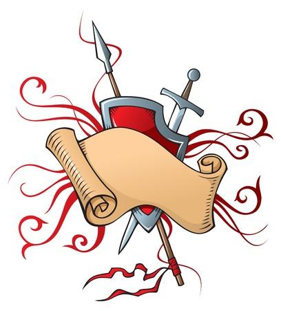 chevalerie: Composition h�raldique avec d�filement, bouclier et armes, illustration vectorielle