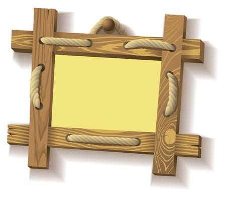 letrero: Marco de tablas de madera colgando de una cuerda crudo, ilustración vectorial Vectores