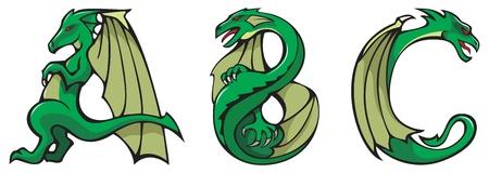 dragon calligraphy: Series of dragons alphabet, letters A,B,C, fantasy dragon shape font, vector illustration