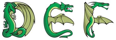 alfabeto con animales: Serie de alfabeto de dragones, letras D, E, F, fuente de forma de drag�n fantas�a, ilustraci�n vectorial Vectores