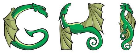 Series of dragons alphabet, letters G,H,I, fantasy dragon shape font, vector illustration Illustration