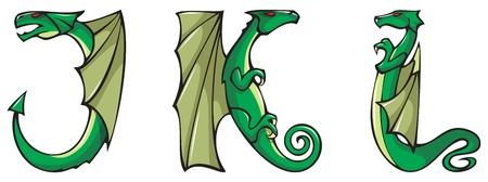 dragon calligraphy: Series of dragons alphabet, letters J,K,L, fantasy dragon shape font, vector illustration