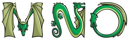 alfabeto con animales: Serie de alfabeto de dragones, letras M, N, O, fuente de forma de drag�n de fantas�a, ilustraci�n de vectores Vectores