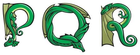 Series of dragons alphabet, letters P,Q,R, fantasy dragon shape font, vector illustration Vector
