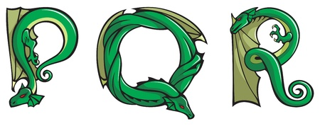 dragon calligraphy: Series of dragons alphabet, letters P,Q,R, fantasy dragon shape font, vector illustration Illustration
