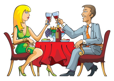 enamorados caricatura: Par celebrar o tener cita rom�ntica en un restaurante, ilustraci�n vectorial