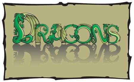 creature of fantasy: Dragons, inscription using special fantasy dragon font, with torn frame, vector illustration Illustration