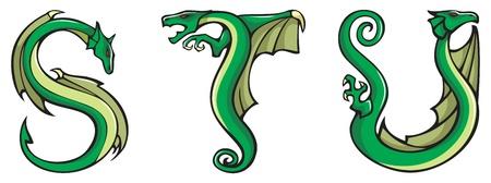 alfabeto con animales: Cartas de la serie del alfabeto de dragones, S, T, U, fuente de forma de drag�n fantas�a, ilustraci�n vectorial Vectores
