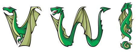 dragon calligraphy: Series of dragons alphabet, letters V,W and exclamation mark, fantasy dragon shape font, vector illustration