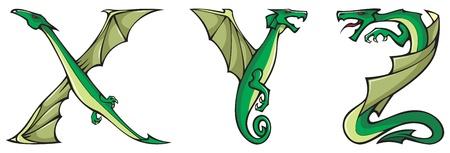 alfabeto con animales: Serie de alfabeto de dragones, letras X, Y, Z, fuente de forma de drag�n de fantas�a, ilustraci�n de vectores