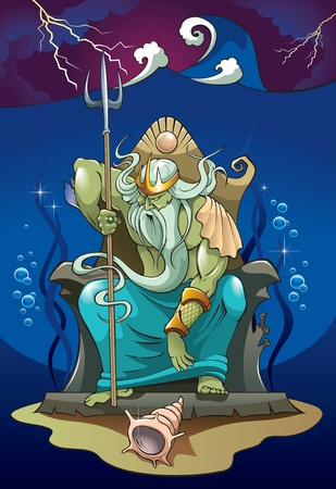Poseidon or Neptune, the god of the sea and earthquakes in Greek (Roman) mythology, summoning the storms,  illustration Vector