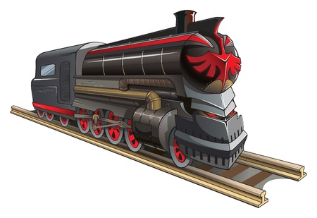 railway history: Demonic train, old steam locomotive with red eyes instead of headlight and mystic symbol, vector illustration Illustration