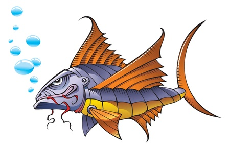 submarino: Peces robot mecánico en el océano, ilustración vectorial Vectores