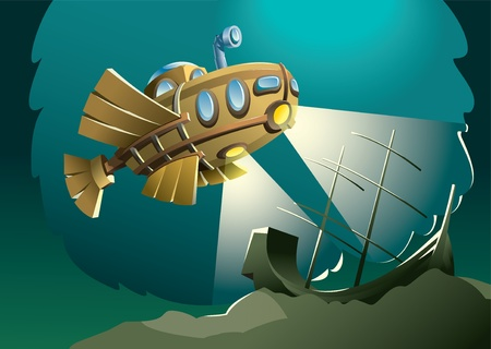 exploring: Weird wooden submarine or bathyscaphe exploring bottom of the sea with sunken ship, vector illustration