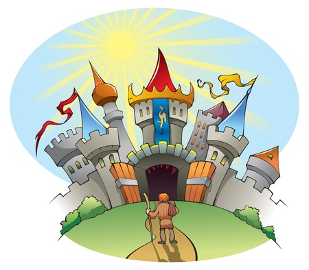 stranger: Medieval city: a man standing before bright and jolly castle, but with many dangers inside