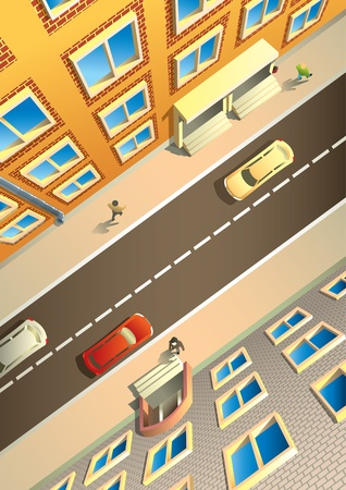 Street in a city, view from above, houses, people and cars Stock Photo - 9636647