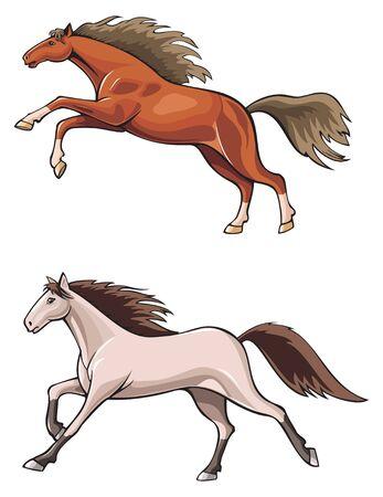 foal: Running and jumping horses, wild mustang, realistic vector illustration Illustration