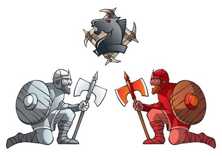 Serie di pezzi degli scacchi, pedoni in bianchi e nero, Dark Ages e fantasy, compresi gli scacchi cavallo emblema, illustrazione vettoriale Vettoriali
