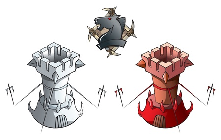 the rook: Chess pieces series, black and white rooks, Dark Ages and fantasy, including chess horse emblem, vector illustration