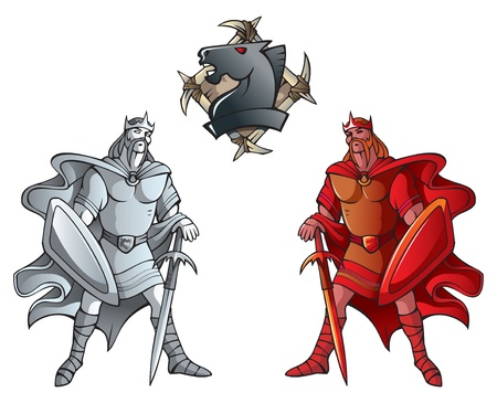 Chess pieces series, black and white kings, Dark Ages and fantasy, including chess horse emblem, vector illustration Vector