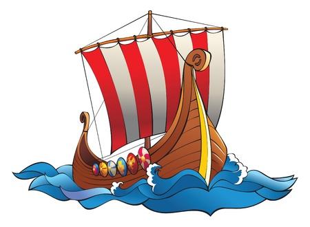 vikingo: Drakkar (drakkar vikingos batalla) en las olas del mar con una fila de escudos y la vela a rayas, ilustraci�n vectorial