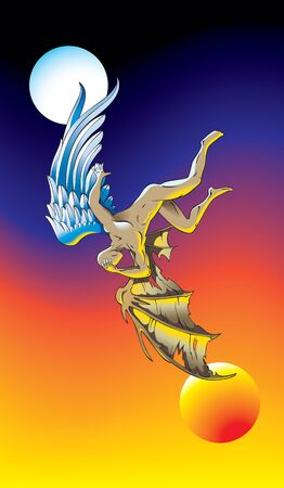 antipode: Fallen angel, fall from heaven to hell, philosophical concept, vector illustration