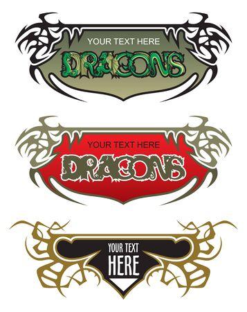 prickles: Serie di frame fantasia spinoso, varianti colore, con draghi, illustrazione vettoriale
