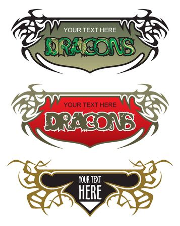 Set of fantasy thorny frames, color variants, with Dragons, vector illustration Stock Vector - 9929565