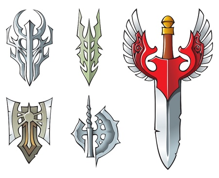 Collection of fantasy objects: sword, artifacts, halberd, axe. Vector illustration Vector