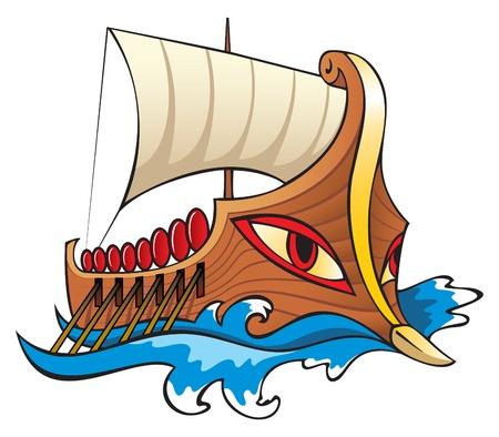 greek god: Argo, en la mitolog�a griega, el legendario barco en el que argonautas sali� para recuperar el vellocino de oro, ilustraci�n vectorial