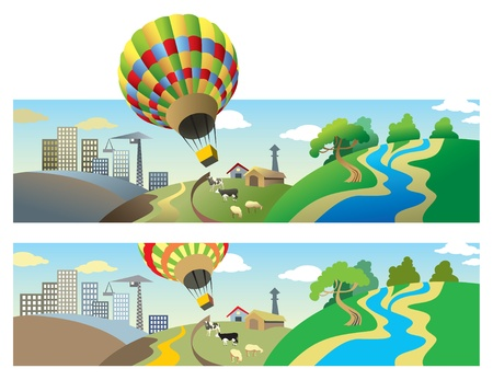 Hot-air balloon flying over wild nature, countryside and town landscapes. Vector