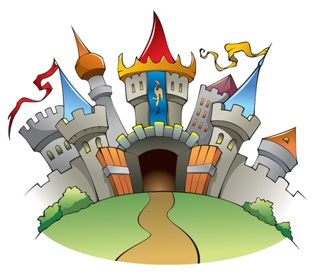 Bright and jolly medieval castle, fortress with walls, towers, and flags. Vector