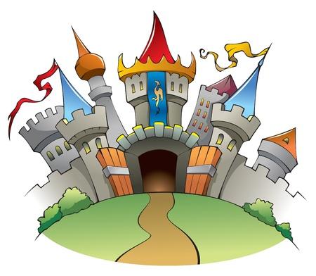 hadas caricatura: Brillante y alegre castillo medieval, fortaleza con muros, Torres y banderas.