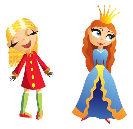 lovely girl: Dos ni�as peque�as encantadoras, dibujos animados.