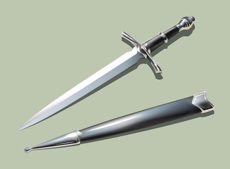 scabbard: Fotorrealista daga medieval con vaina (con malla). Vectores