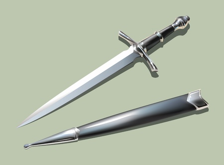 Photo-realistic medieval dagger with scabbard (using mesh). Vector