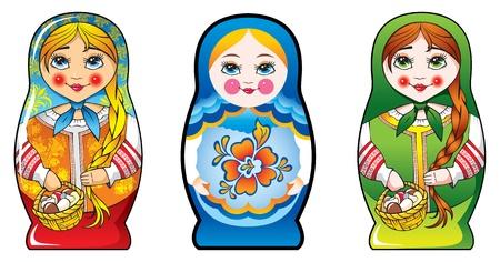Traditional Russian matryoshka (matrioshka) dolls, national style costume, three diferent costumes. Illustration