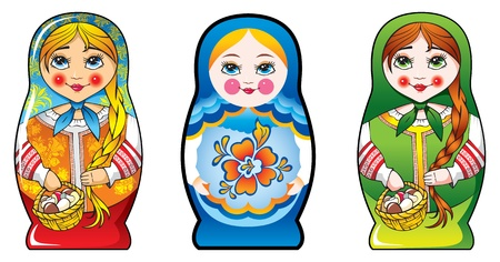russian culture: Traditional Russian matryoshka (matrioshka) dolls, national style costume, three diferent costumes. Illustration