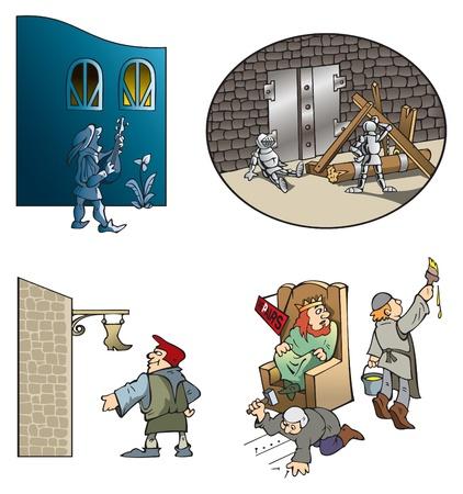medioevo: Le scene divertenti del Medioevo: serenata del menestrello, assedio il castello, artigiano di scarpe e le riparazioni in re sala,