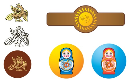 Bird, nesting dolls and sun in style of traditional Russian ornaments, templates for logo. Illustration