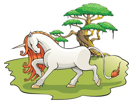 enchanted forest: Mythical Unicorn in the enchanted forest Illustration